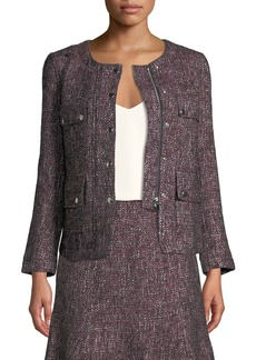 Club Monaco Shaylene Tweed Zip-Front Jacket
