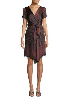 Club Monaco Tarteen Scarf-Print Draped Short Dress