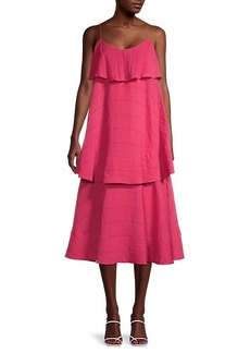 Club Monaco Tiered Crinkle Midi Dress
