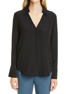 Women's Club Monaco Helek Button-Up Silk Blouse