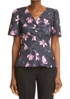 Women's Club Monaco Ruched Front Woven Top