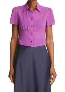 Women's Club Monaco Short Sleeve Silk Blouse