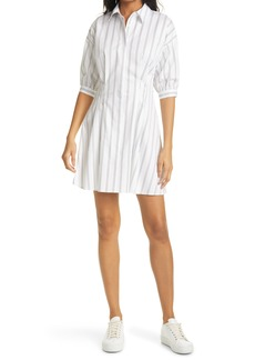 Women's Club Monaco Stripe Sculptural Sleeve Shirtdress