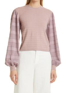 Women's Club Monaco Woven Sleeve Sweater