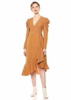 C/Meo Collective Women's Advance Long Sleeve Ruffle Trim Wrap Short Dress  s