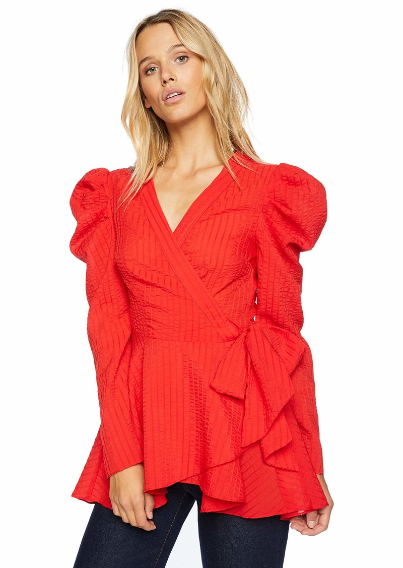 C/MEO COLLECTIVE Women's Advance Long Wrap Top with Puff Sleeves  S
