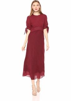 C/Meo Collective Women's Affix Short TIE Sleeve EMIPRE Waist MIDI Dress Navy red Check S