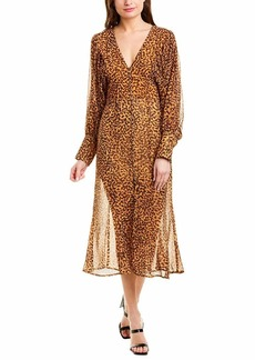 C/Meo Collective Women's Apparent Puff Sleeve Trumpet Midi Dress Mustard Painted spot l