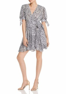 C/Meo Collective Women's Apparent Sleeve Flowy Short Wrap Dress Ivory Painted spot s