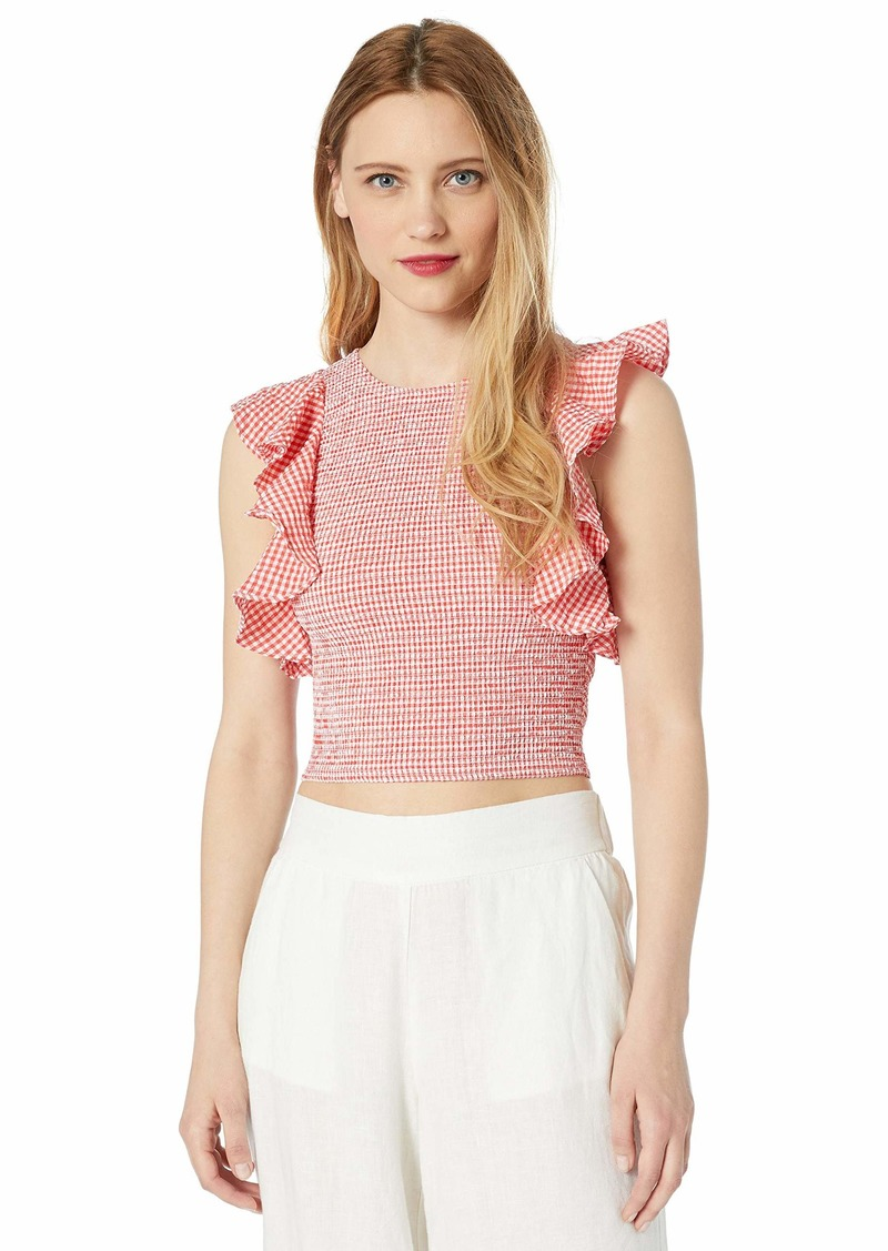 C/Meo Collective Women's Best Love Stretch Smocked Ruffle Shoulder Crop Top  s