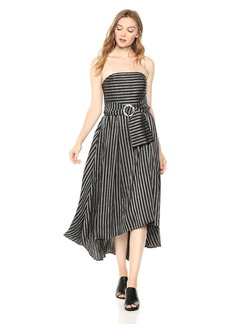 C/Meo Collective Women's Blinded Belted Strapless HI LO Gown  L
