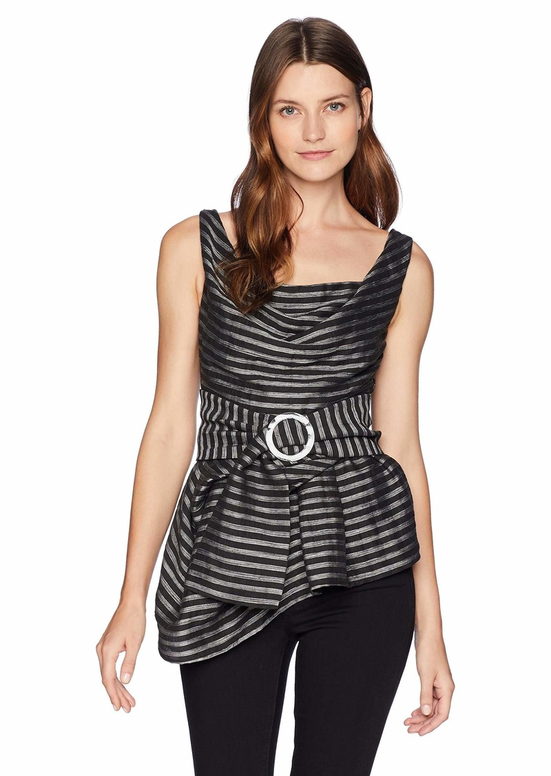 C/Meo Collective Women's Blinded Sleeveless Belted Asymetrical Hem TOP  XL