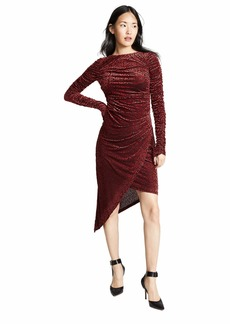 C/Meo Collective Women's Breakthrough Velvet Burnout Longsleeve Shirred Midi Dress  L