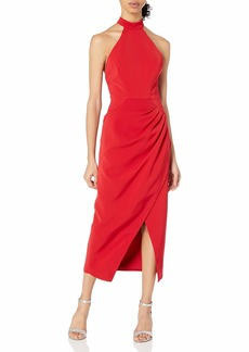 C/Meo Collective Women's Caliber Halter Drape Front Sheath Midi Dress