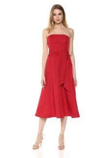 C/Meo Collective Women's Confessions Strapless TIE Waist MIDI Dress  L