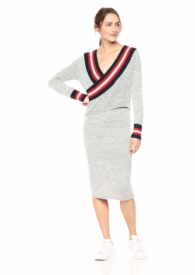 C/MEO COLLECTIVE Women's Crossover Front Knit Wrap Sweater Dress  L