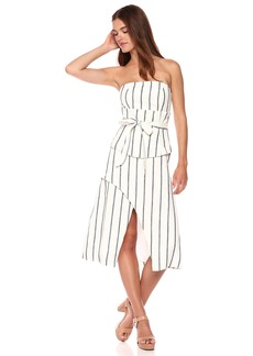 C/Meo Collective Women's Diffuse Strapless MIDI Dress with Corset and TIE Belt  XL