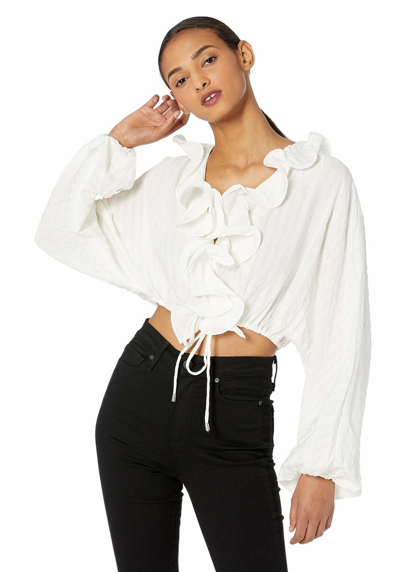 C/Meo Collective Women's Distinct Long Sleeve Ruffle Crop TOP  S