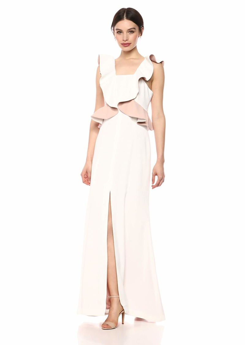 C/Meo Collective Women's Elation Ruffle Peplum Sleevleess Long Maxi Gown Dress Ivory with Blush m