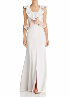 C/Meo Collective Women's Elation Ruffle Peplum Sleevleess Long Maxi Gown Dress Ivory with Blush s