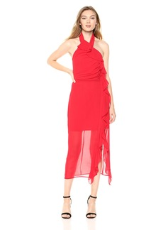 C/Meo Collective Women's Elude Ruffle Detail Halter MIDI Dress with Slit  L