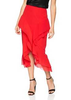 C/MEO COLLECTIVE Women's Elude Ruffle Detail HI Low MIDI Skirt  L