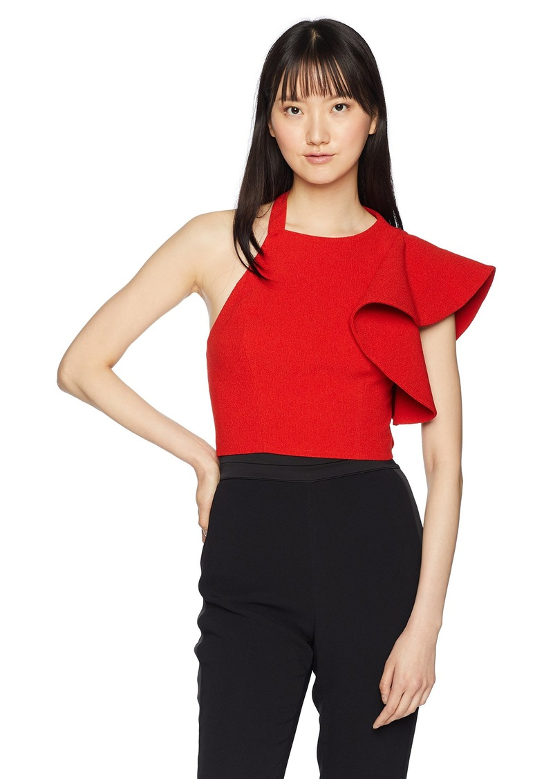 C/Meo Collective Women's Entice HIGH Neck Cropped ONE Sleeve Ruffle Detail TOP red M