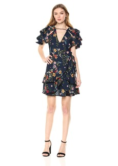 C/Meo Collective Women's ENTITLE Short Sleeve V Neck Mini Dress  M