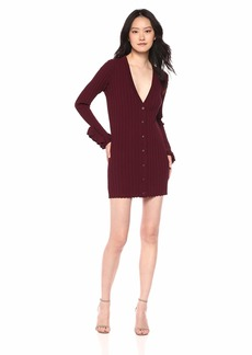C/Meo Collective Women's Envision Cardigan V Neck Knit Sweater Dress with Ruffles  L