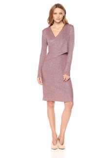 C/Meo Collective Women's Crossover Front Knit Wrap Sweater Dress