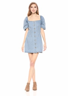 C/Meo Collective Women's for The Story Puff Sleeve Short Denim Dress  L
