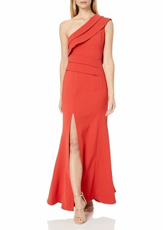 C/Meo Collective Women's Fragment One Shoulder Crepe Trumpet Gown  S