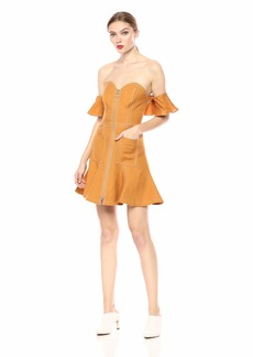 C/Meo Collective Women's GET Right Off The Shoulder Utility Flared Mini Dress  L