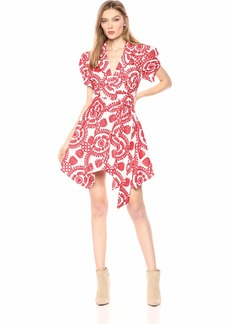 C/Meo Collective Women's Impressed Embroidered WRAP Short Shirt Dress Ivory/W/red L