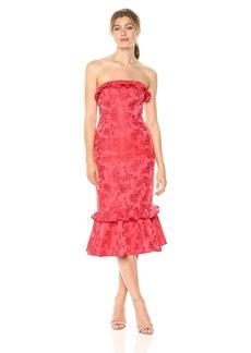 C/Meo Collective Women's Levity Strapless Rose Print MIDI Dress with Ruffle Hem  M