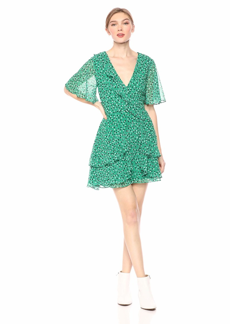 C/Meo Collective Women's LOYALTIES Flutter Sleeve WRAP Tiered Mini Dress  M