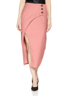C/MEO COLLECTIVE Women's MIDI Length WRAP Front Skirt with Slit and Side Buttons  L