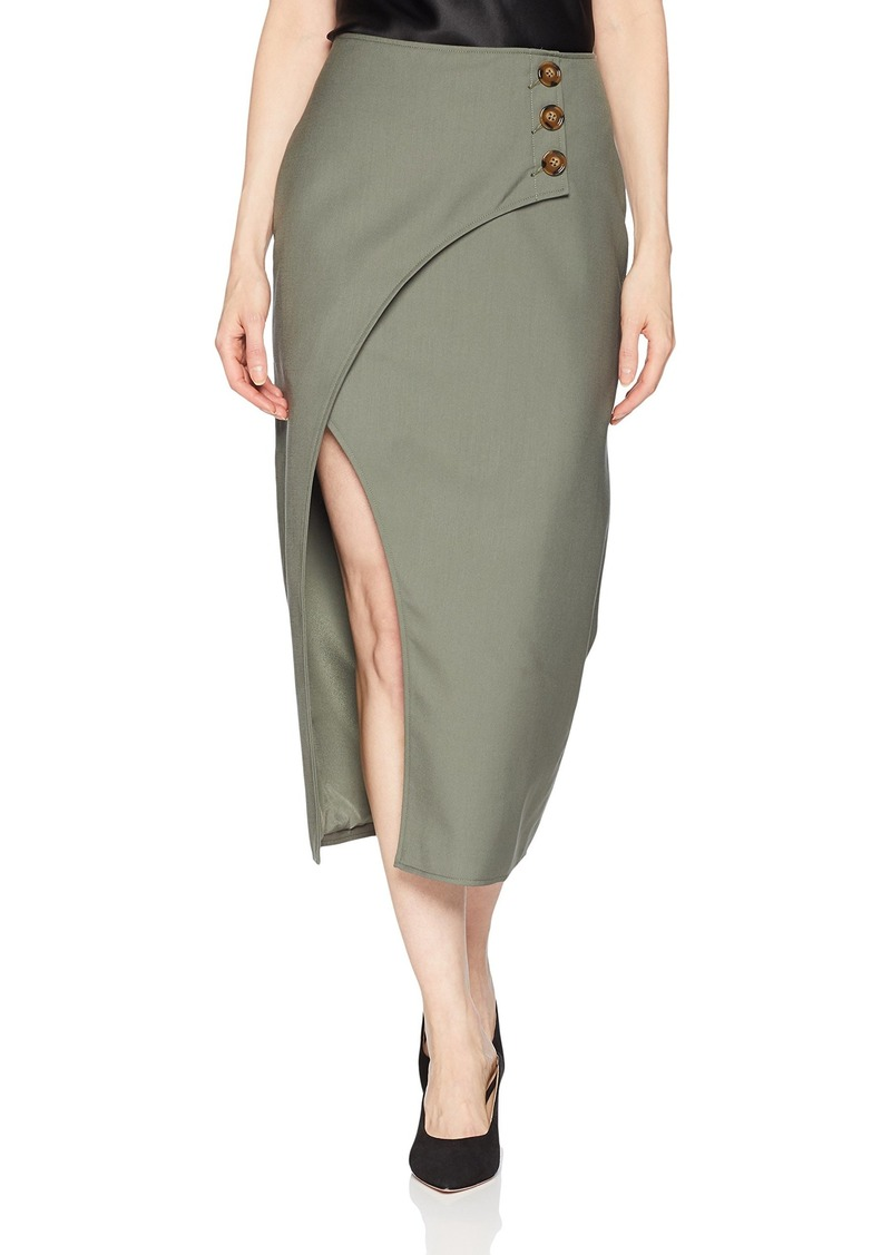 C/Meo Collective Women's MIDI Length WRAP Front Skirt with Slit and Side Buttons  M