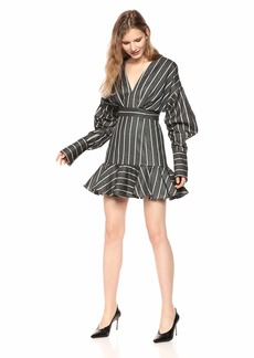 C/Meo Collective Women's Moments Apart Striped Puff Long Sleeve Flounce Mini Dress Navy M