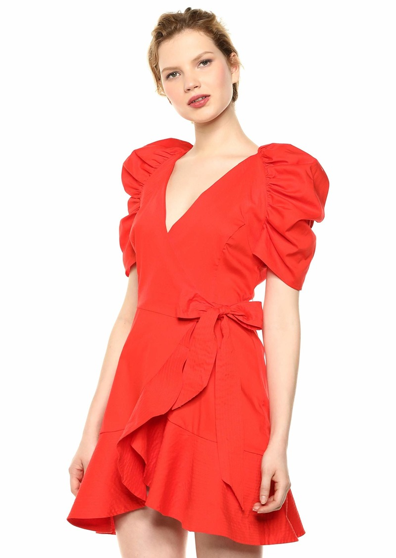 C/Meo Collective Women's Motivations Puff Sleeve Short WRAP Dress MORANGE S