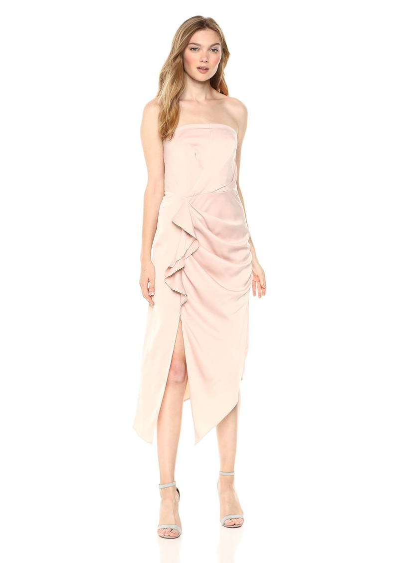 C/MEO COLLECTIVE Women's NO Less Strapless Gathered MIDI Dress with Slit  XL