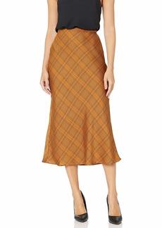 C/MEO COLLECTIVE Women's No Time Plaid Checkered Midi Slip Skirt  L