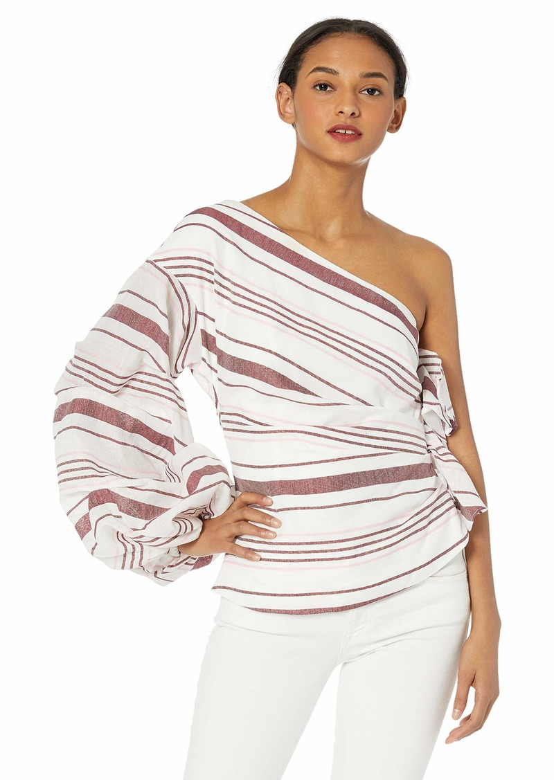 C/Meo Collective Women's On Her Own One Shoulder Striped Top Ivory m