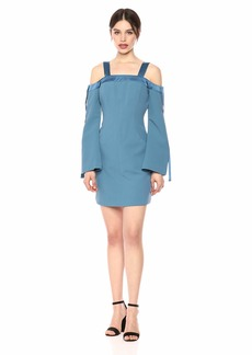 C/Meo Collective Women's Outgrown Cold Shoulder Long Sleeve Shift Dress  XXS