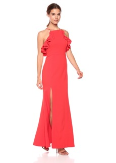 C/Meo Collective Women's Outline FIT and Flare Gown with Ruffle Detail and Side Slit  L