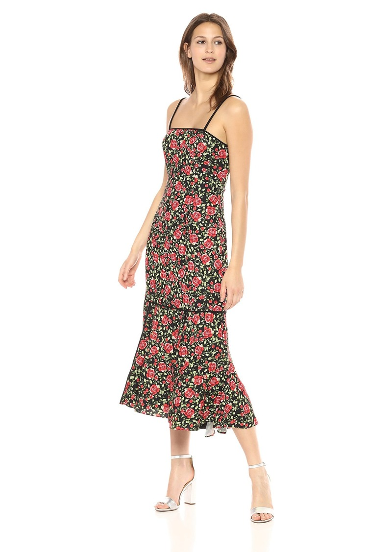 C/MEO COLLECTIVE Women's Outline Floral Print Sleeveless MIDI Dress with Flounce Hem  XS