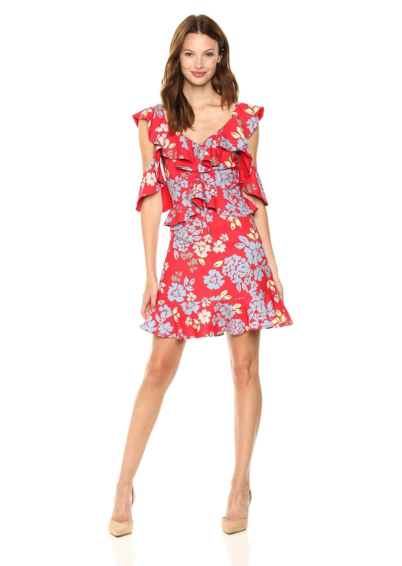 C/Meo Collective Women's Questions Cold Shoulder Fit and Flare Mini Dress red Floral S