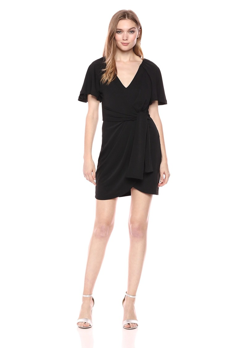C/Meo Collective Women's Recollect TIE Front V Neck Short Sleeve Tulip Hem Mini Dress  S