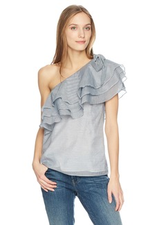 C/Meo Collective Women's Sanctum Stripe One Shoulder Ruffle Top  XXS