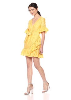 C/Meo Collective Women's Short Sleeve V Neck WRAP Dress W Side TIE and Ruffle Hem  S